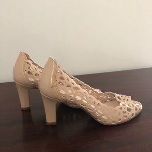 Aquatalia Shoes - Aquatalia Nude Patent Peep Toe Pumps!
